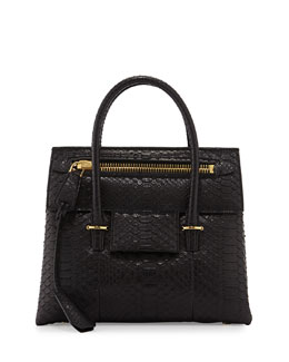 Icon Small Python Tote Bag, Black
