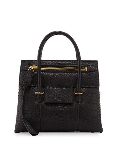 Icon Small Python Tote Bag, Black