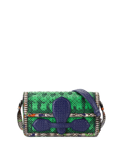 Snakeskin & Leather Geometric Stitched Satchel Bag, Green