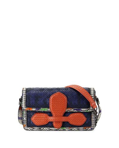 Snakeskin & Leather Geometric Stitched Satchel Bag, Blue