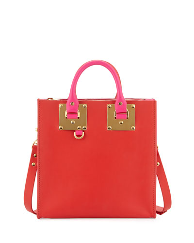 Square Bicolor Leather Tote Bag, Red