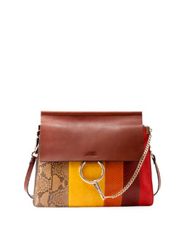 Faye Medium Python Paneled Bag, Brown Multi