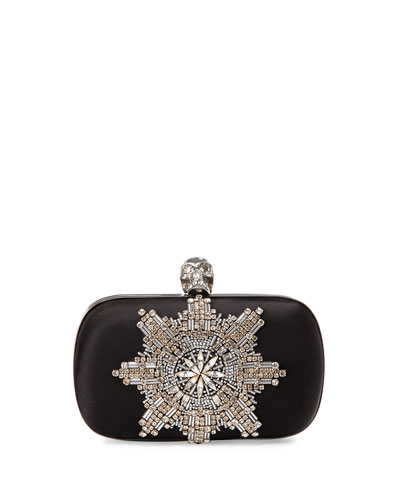Crystal-Beaded Skull Clutch Bag
