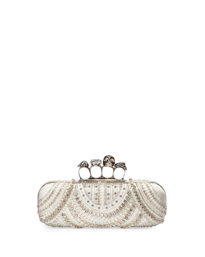 Scallop-Beaded Skull Knuckle-Duster Box Clutch Bag
