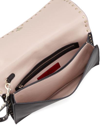 Rockstud Flap Wristlet Clutch Bag, Black