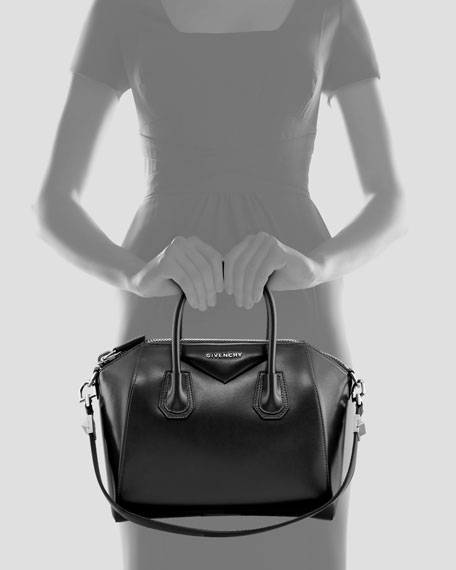 Antigona Small Box Calf Leather Satchel Bag, Black