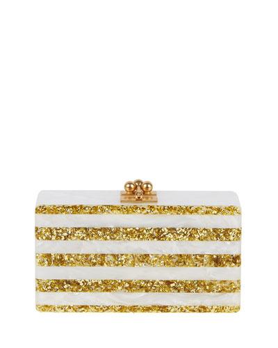 Jean Striped Acrylic Confetti Clutch Bag