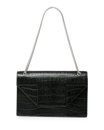 Betty Medium Croc-Embossed Chain Shoulder Bag, Black