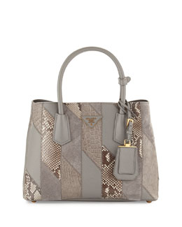 Python & Crocodile Patchwork Small Tote Bag