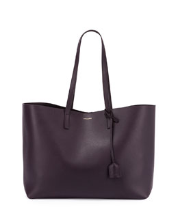 East-West Leather Shopper Bag
