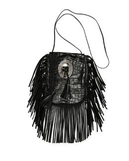 Anita Croc-Stamped Fringe Crossbody Bag