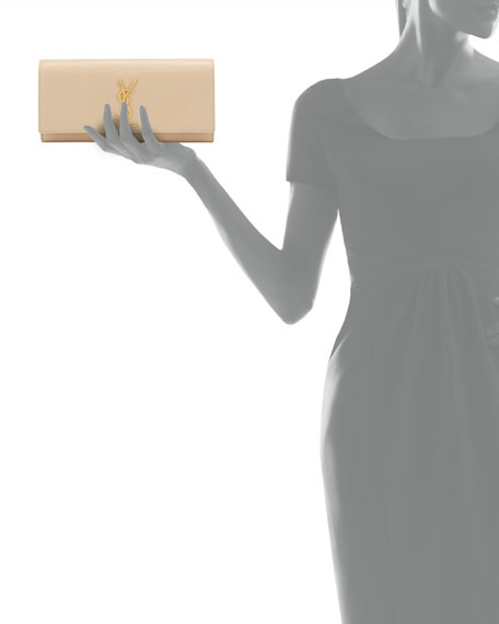 Cassandre Calfskin Clutch Bag, Nude