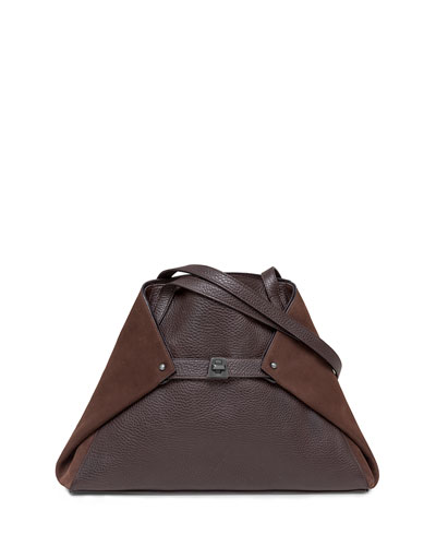 Ai Small Suede & Leather Shoulder Tote Bag