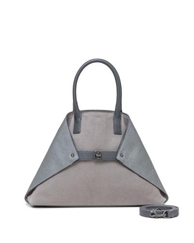Ai Medium Suede & Leather Messenger Bag, Gray
