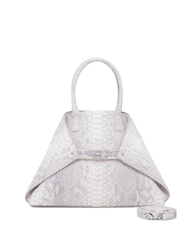 Ai Python Small Messenger Bag, Light Gray