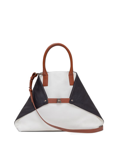 Ai Medium Tricolor Leather Messenger Bag