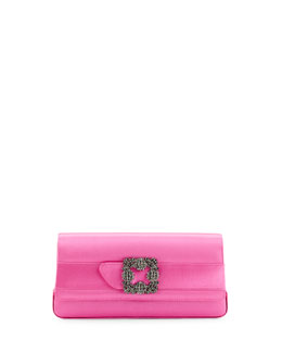 Gothisi Crystal-Buckle Satin Clutch Bag, Pink