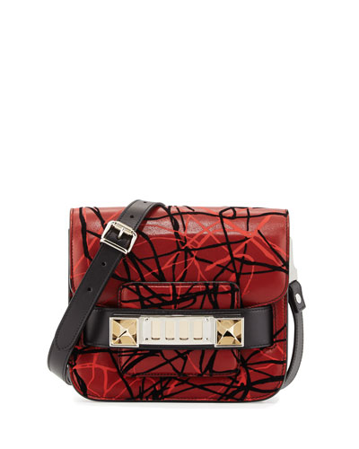 PS11 Scribble-Print Leather Satchel Bag, Red