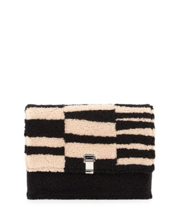 Lunch Two-Tone Blurred Shearling Fur Clutch Bag