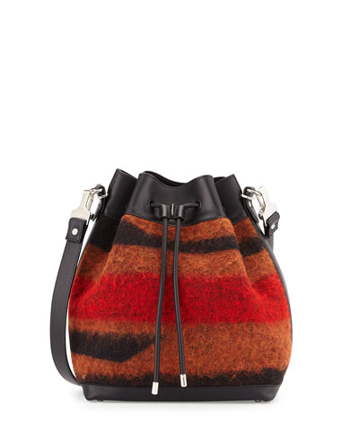 Striped Jacquard Felt Medium Bucket Bag