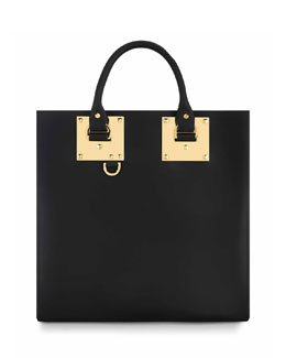 Large Square Leather Tote Bag with Charm
