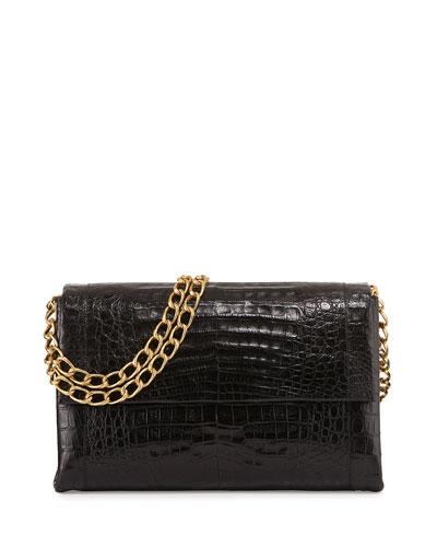 Large Flap-Top Crocodile Shoulder Bag, Black