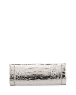 Long Crocodile Box Clutch Bag