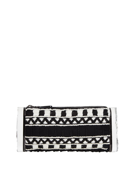 Soft Lara Embroidered Clutch Bag, Black/White