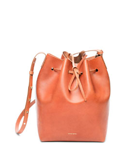 Medium Coated Leather Bucket Bag, Medium Brown