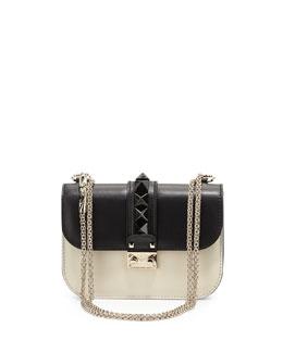 Mini Lock Bicolor Shoulder Bag, Black/Ivory