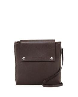 Monili Trimmed Leather Clutch Bag
