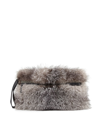 Silver Fox Fur Clutch Bag