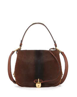 Calf-Hair Saddle Bag, Brown Ombre