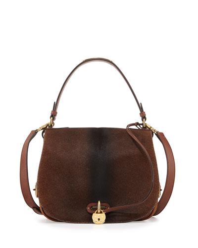 Calf-Hair Saddle Bag, Brown Ombre