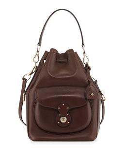 Ricky Calfskin Bucket Bag, Dark Brown
