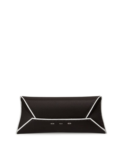 Metallic-Trimmed Silk Clutch Bag, Silver/Black
