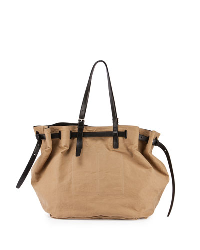 Leather-Detailed Canvas Satchel Bag