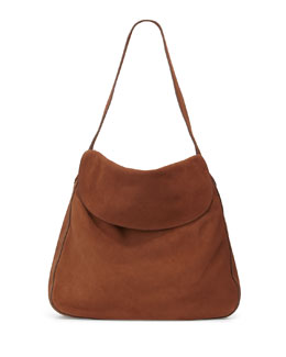 Suede Doubled Flap-Top Medium Hobo Bag