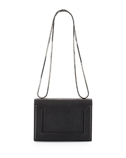 Soleil Mini Pebbled Leather Chain Shoulder Bag, Black