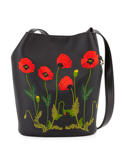 Flower-Embroidered Bucket Bag, Black