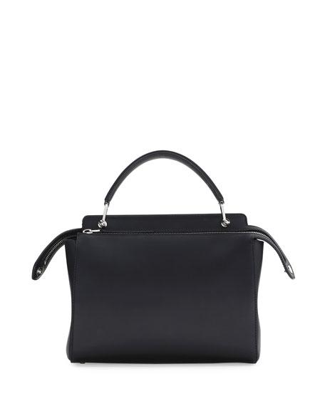 Dotcom Medium Leather Satchel Bag, Black/Royal Blue