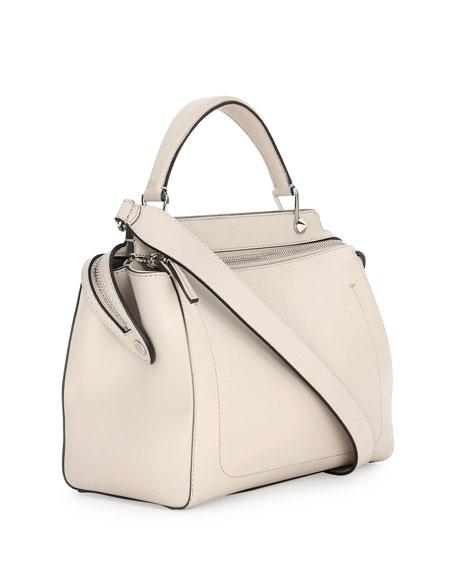 Dotcom Medium Leather Satchel Bag, Milk/Black