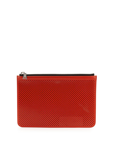 Perforated Leather Medium Zip Pouch Bag, Fire Red