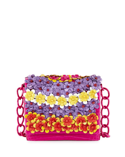 Medium Floral Flap-Top Crocodile Shoulder Bag, Pink
