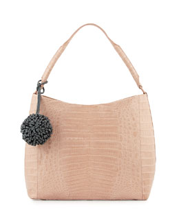 Crocodile Hobo Bag with Flower Charm