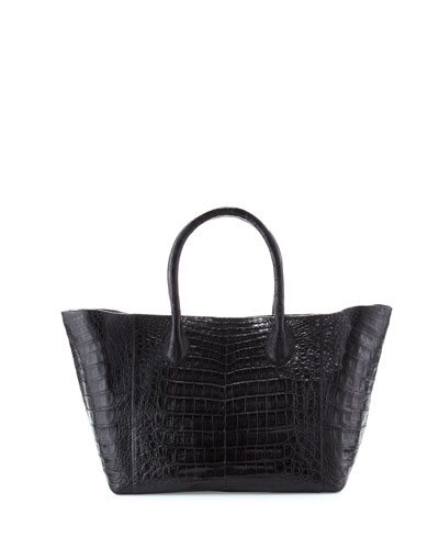 Medium Crocodile Convertible Tote Bag, Black