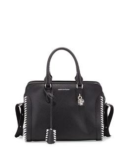 Small Whipstitch Padlock Satchel Bag, Black