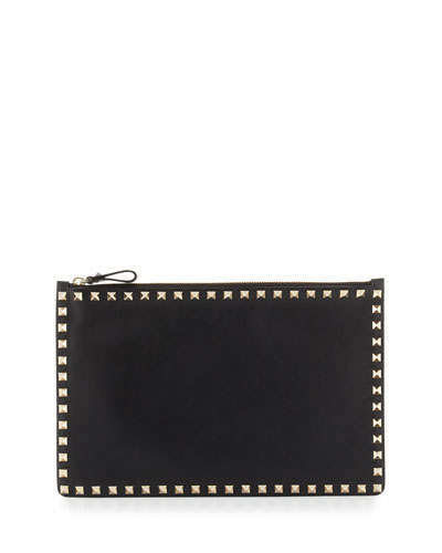 Rockstud Large Flat Vitello Pouch Bag, Black
