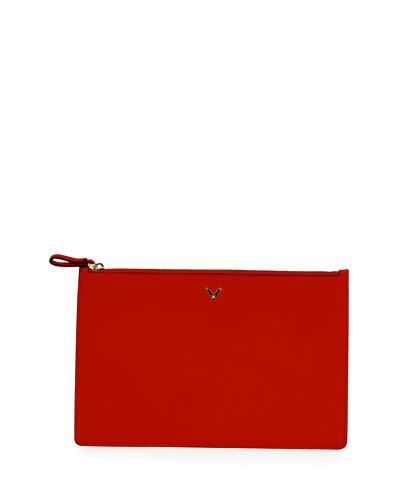 Large Flat Leather Zip Pouch Bag, Red