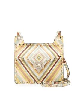 Rockstud Geometric Striped Shoulder Bag, Multi